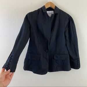 Frame Black LINEN Lightweight Fitted Blazer Jacket